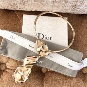 Christian Dior Gold Plated Leaf Choker Necklace